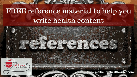 Free health references for writing health content
